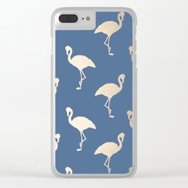 Gold Flamingo on Aegean Blue Clear iPhone Case