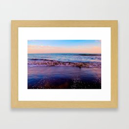 beach sunset with beautiful blue cloudy sky and blue wave in summer Framed Art Print