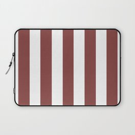 Brandy purple -  solid color - white vertical lines pattern Laptop Sleeve