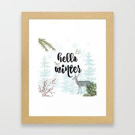 Hello winter nature scene Framed Art Print