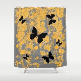 BLACK BUTTERFLIES & GOLDEN IVY PATTERNS GREY ART Shower Curtain