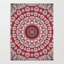 Red White Bohemian Mandala Design Poster