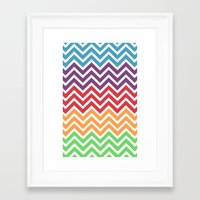 gumball Framed Art Prints featuring Gumball Chevron by Wicked Cool Studio