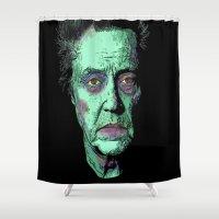 christopher walken Shower Curtains featuring The Walken Dead by Ron Trickett