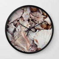 seashell Wall Clocks featuring seashell by Pink Revenge