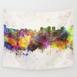 Halifax skyline in watercolor background Wall Tapestry