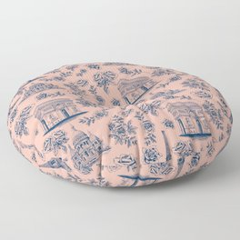 Paris Mauve Pink + Navy Pattern with Roses Floor Pillow