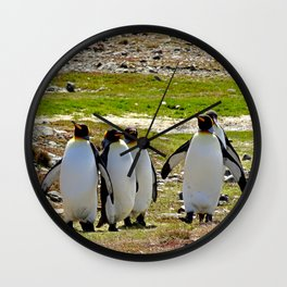 Marching King Penguins Wall Clock