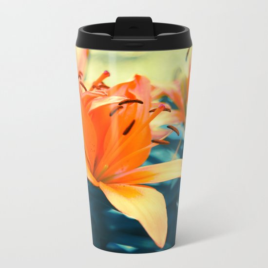 Summer Lilies I Metal Travel Mug