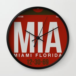 MIA Miami Luggage Tag 2 Wall Clock