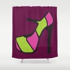 High Heel Parade - Pink & Green Shower Curtain