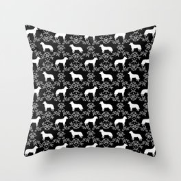 Australian Cattle Dog minimal floral silhouette pattern black and white dog art Throw Pillow