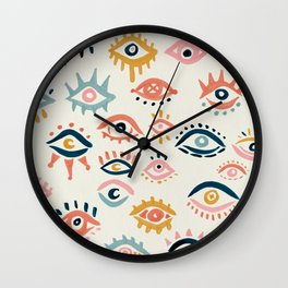Mystic Eyes – Primary Palette Wall Clock