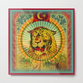 Tiger Fez Label Metal Print