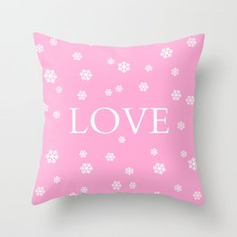 Winter Love - pink - more colors Throw Pillow