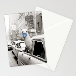 Yummy Blue Bubble Gum Llama taking a New York Taxi black and white photography Stationery Cards