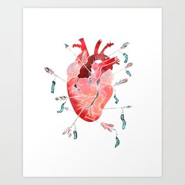 Arrows to the heart Art Print