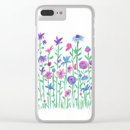 Cheerful spring flowers watercolor Clear iPhone Case