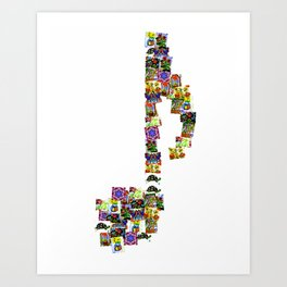 A Music Note Collaboration Of Art Collage Art Print