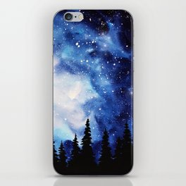 Watercolor Starry Galaxy Forest Painting iPhone Skin