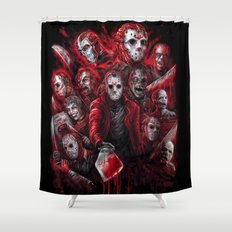 Jason Voorhees Friday the 13th Many faces of  Shower Curtain