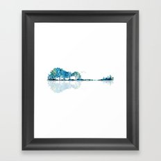 Nature Guitar - Watercolor Blues Framed Art Print