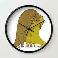 sex and the city Wall Clocks featuring tyrannosaurus sex by alex eben meyer