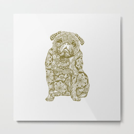 Mandala Pug Metal Print