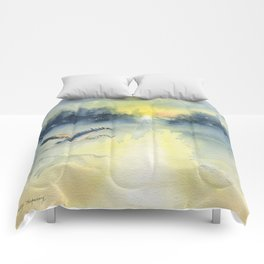 Flying Home - Great Blue Heron Comforters