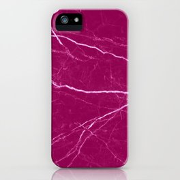 Magenta marble abstract texture pattern iPhone Case