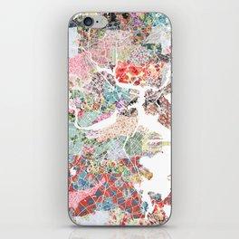Boston map portrait iPhone Skin