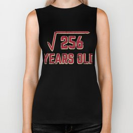 16th Birthday Gift Square Root of 256 16 Year Old Math Bday Present Biker Tank