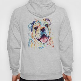 Bulldog Colorful Watercoor Pet Portrait Painting - Shelby Rue Hoody