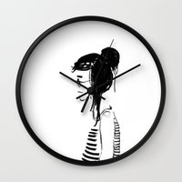 hippy Wall Clocks featuring Hippy girl by SolaKida