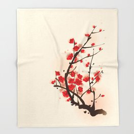Oriental plum blossom in spring 012 Throw Blanket