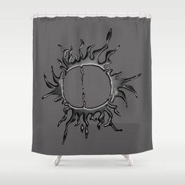 Liquid Sun on Grey Shower Curtain