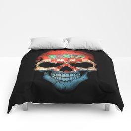 Dark Skull with Flag of Croatia Comforters