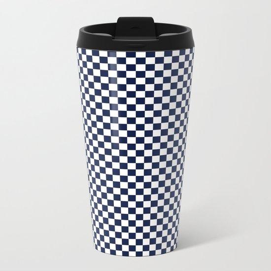 Indigo Navy Blue Checks Metal Travel Mug