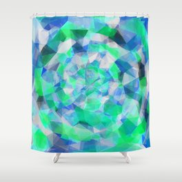 geometric polygon abstract pattern in blue and green Shower Curtain