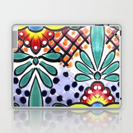Colorful Talavera, Yellow Accent, Mexican Tile Design Laptop & iPad Skin