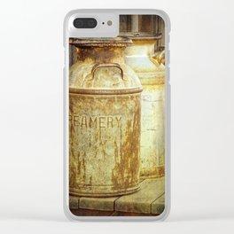 Creamery Milk Cans in 1880 Town in South Dakota Clear iPhone Case