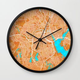 Providence, RI, USA, Gold, Blue, City, Map Wall Clock