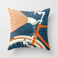 bicycle Throw Pillows featuring Bicycle Light by Fernando Vieira