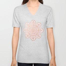 Rose Gold Mandala on White Marble Unisex V-Neck
