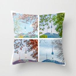 Seoul Tower Seasons - Square Throw Pillow