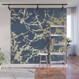 Kintsugi Ceramic Gold on Indigo Blue Wall Mural