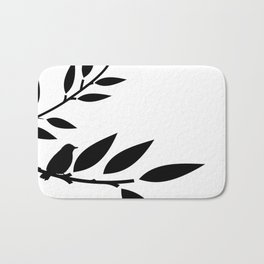 Bird and Branches Silhouette Bath Mat