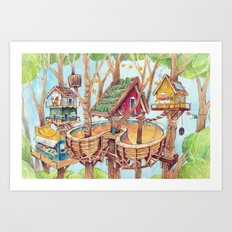 Treehouse Fun Farm Art Print