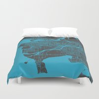 vancouver Duvet Covers featuring Vancouver Map by Map Map Maps