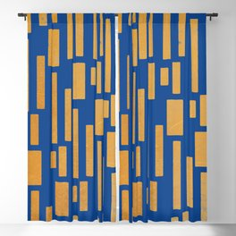 Abstract Bamboo Dark Blue Gold Mid-Century Modern Blackout Curtain
